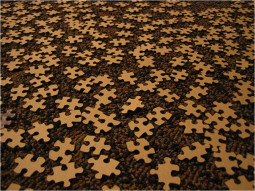 Upturned jigsaw pieces